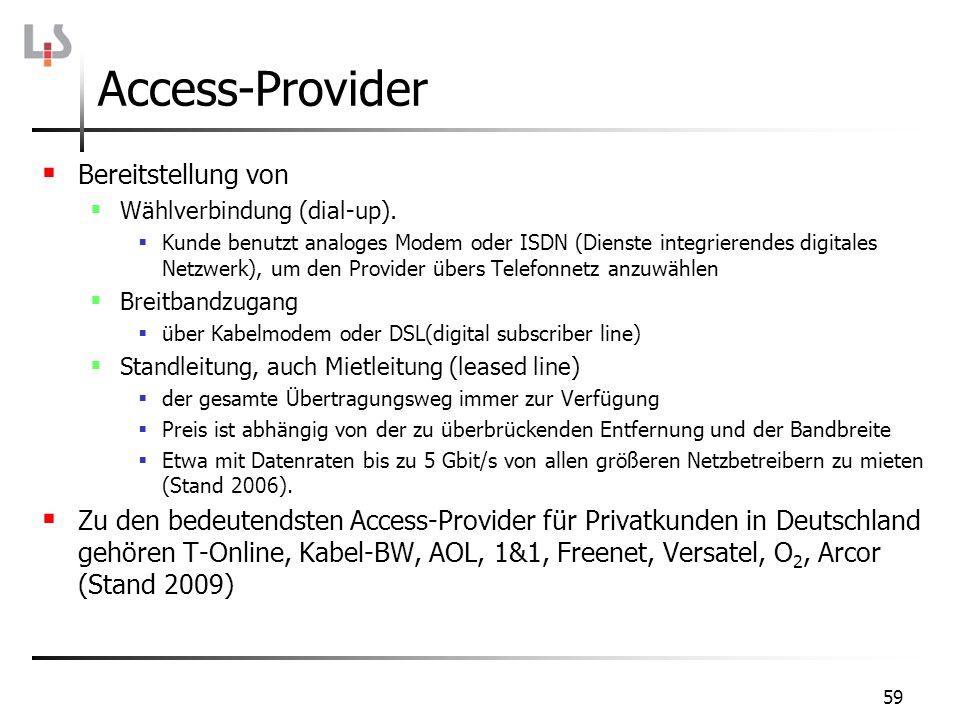 Access-Provider Bereitstellung von