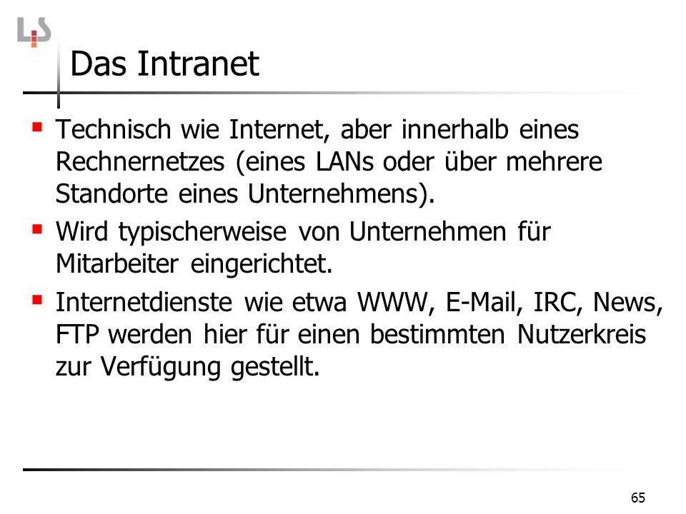 Das Intranet Technisch wie Internet, aber innerhalb eines Rechnernetzes (eines LANs oder über mehrere Standorte eines Unternehmens).