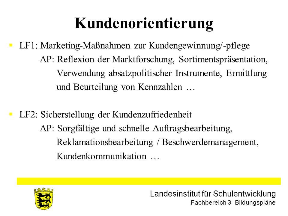 Kundenorientierung LF1: Marketing-Maßnahmen zur Kundengewinnung/-pflege. AP: Reflexion der Marktforschung, Sortimentspräsentation,