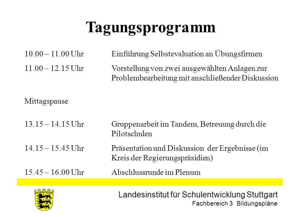 Tagungsprogramm 10.00 – 11.00 Uhr Einführung Selbstevaluation an Übungsfirmen.