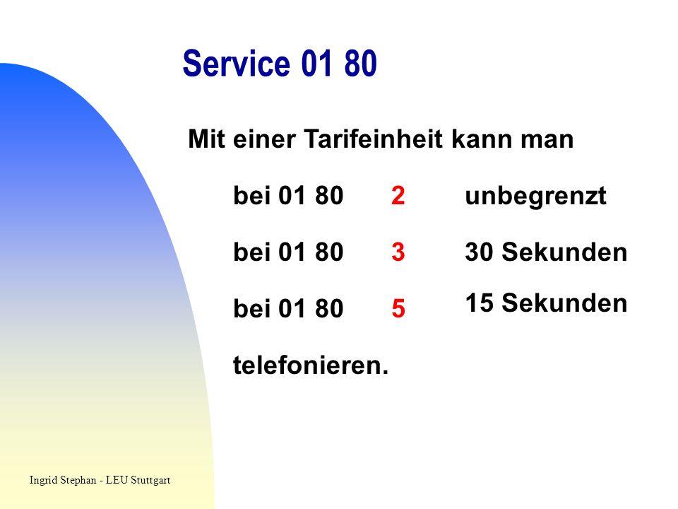 Service 01 80 Mit einer Tarifeinheit kann man bei 01 80 2 unbegrenzt