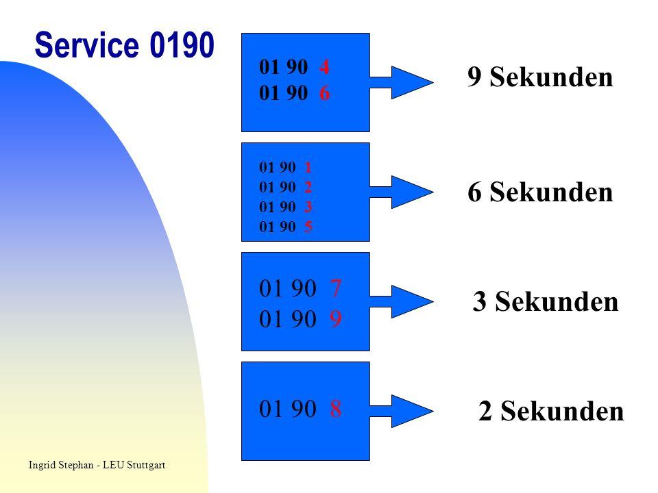 Service 0190 9 Sekunden 6 Sekunden 3 Sekunden 2 Sekunden 01 90 7