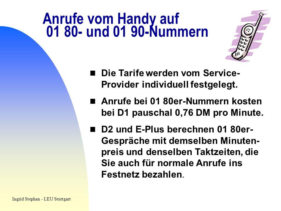 Anrufe vom Handy auf 01 80- und 01 90-Nummern