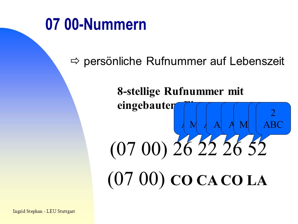 (07 00) (07 00) CO CA CO LA Nummern