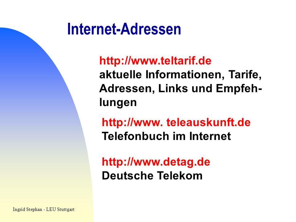 Internet-Adressen http://www.teltarif.de
