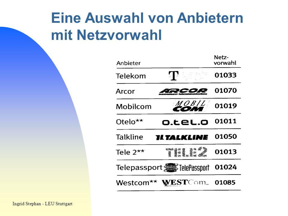 Eine Auswahl von Anbietern mit Netzvorwahl