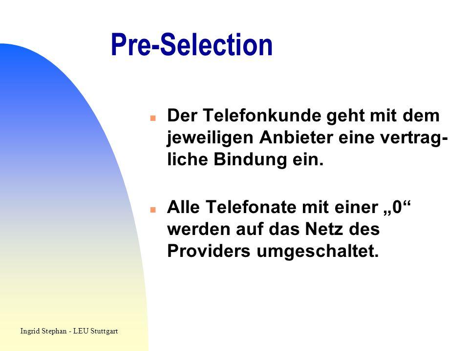 Pre-Selection Der Telefonkunde geht mit dem jeweiligen Anbieter eine vertrag- liche Bindung ein.