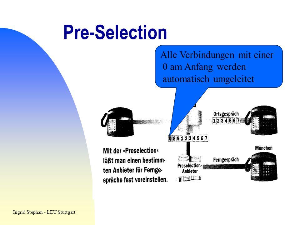 Pre-Selection Alle Verbindungen mit einer 0 am Anfang werden