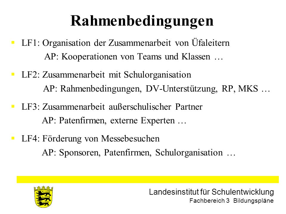 Rahmenbedingungen LF1: Organisation der Zusammenarbeit von Üfaleitern