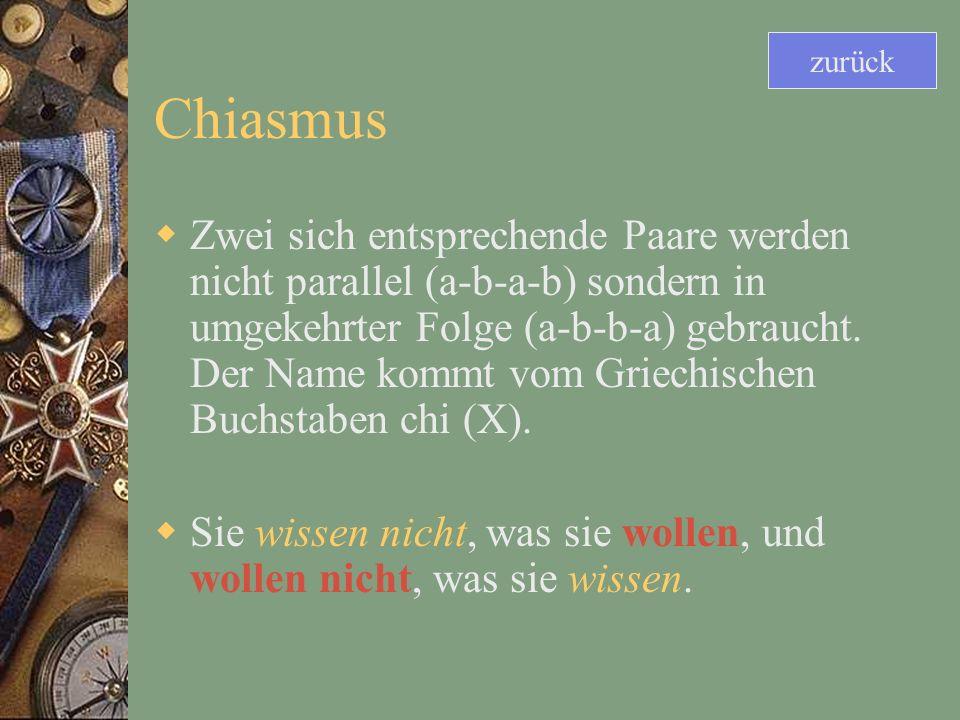 zurück Chiasmus.