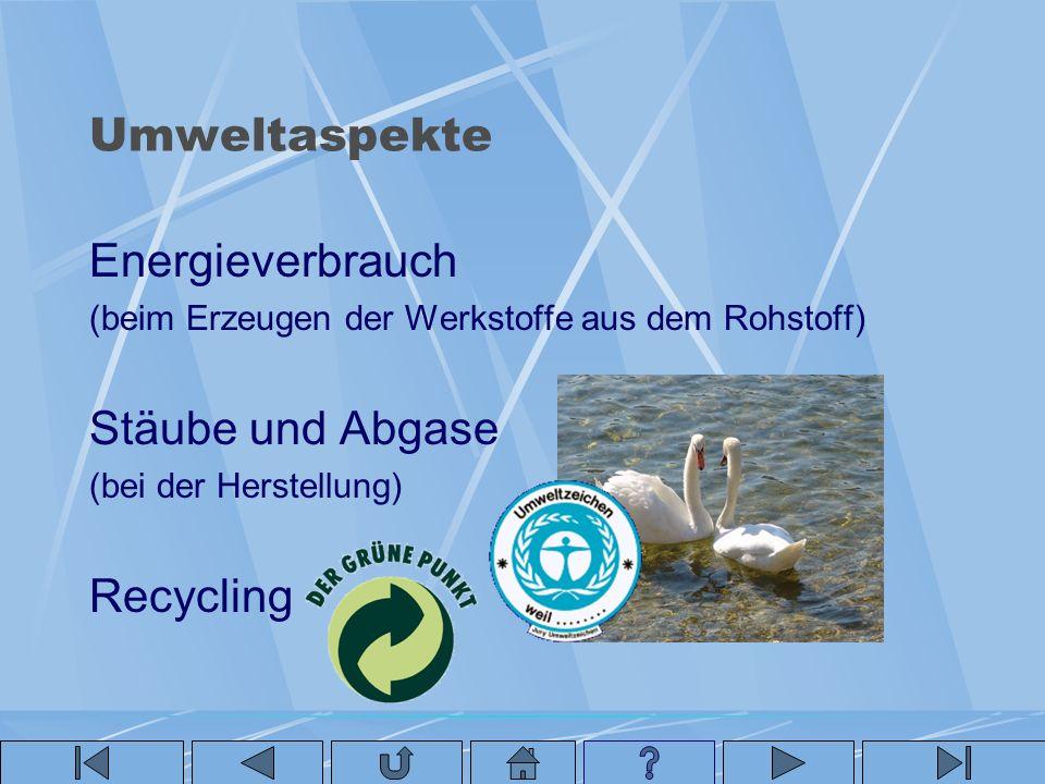 Umweltaspekte Energieverbrauch Stäube und Abgase Recycling
