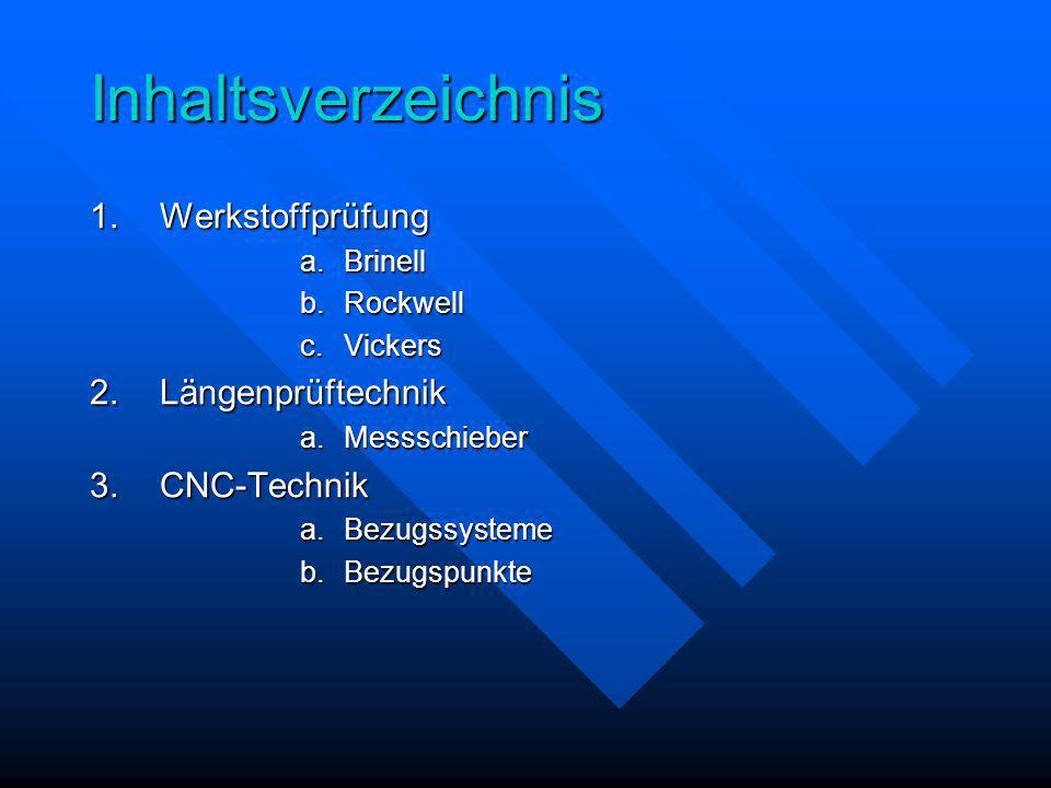 Inhaltsverzeichnis Werkstoffprüfung Längenprüftechnik CNC-Technik