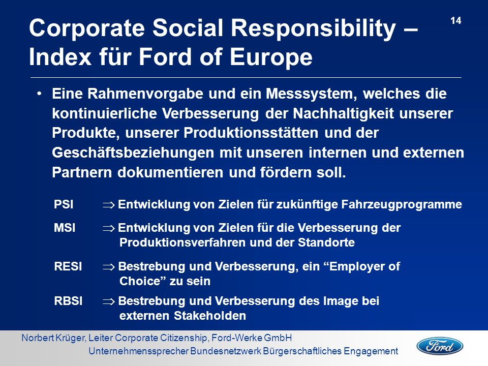 Corporate Social Responsibility – Index für Ford of Europe