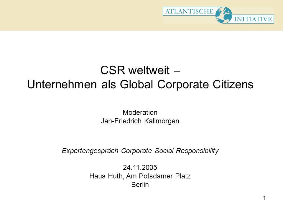 CSR weltweit – Unternehmen als Global Corporate Citizens