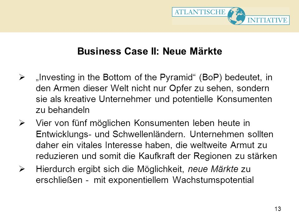 Business Case II: Neue Märkte