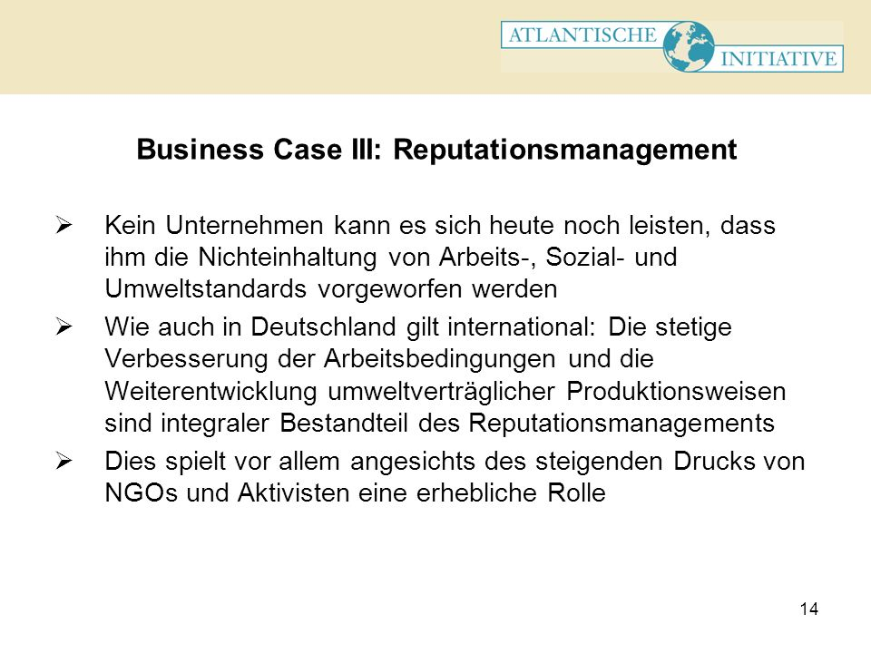 Business Case III: Reputationsmanagement