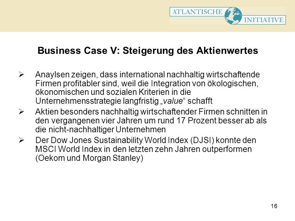 Business Case V: Steigerung des Aktienwertes