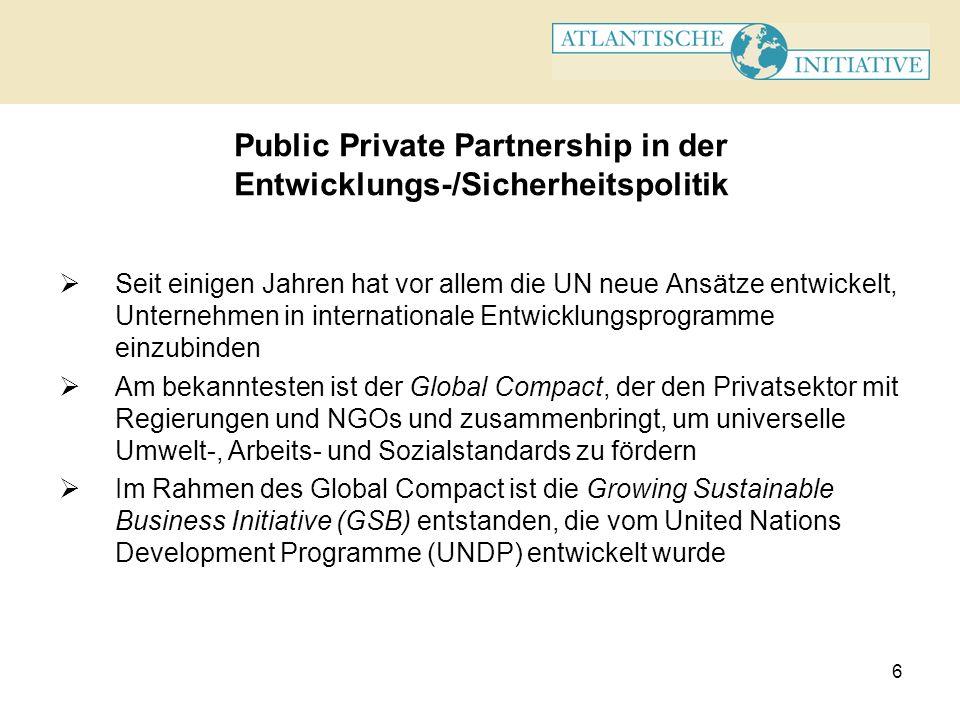 Public Private Partnership in der Entwicklungs-/Sicherheitspolitik