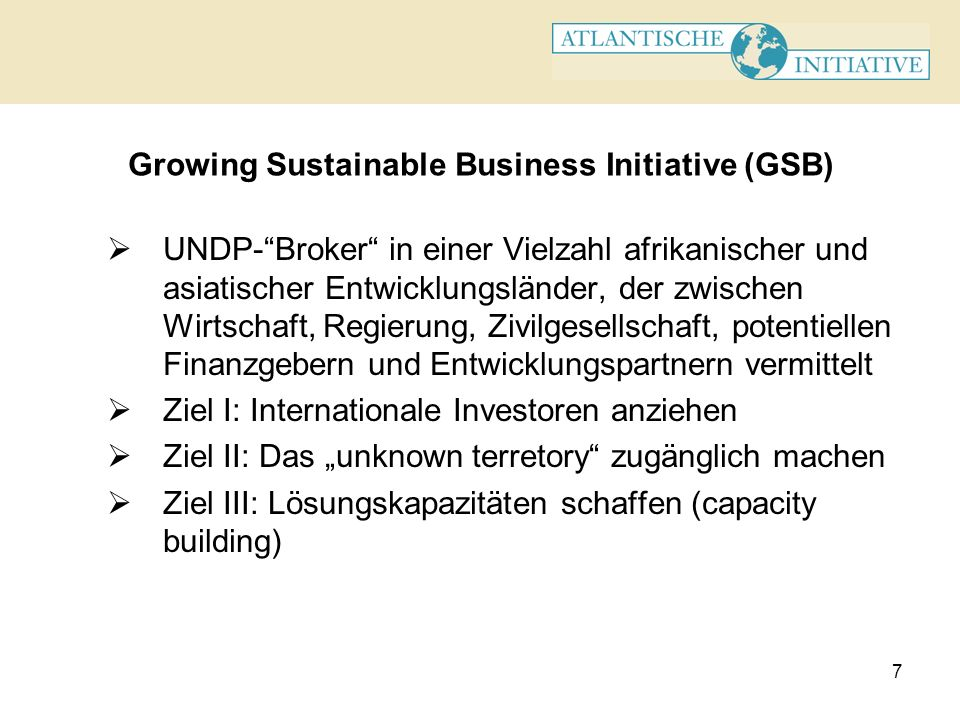 Growing Sustainable Business Initiative (GSB)
