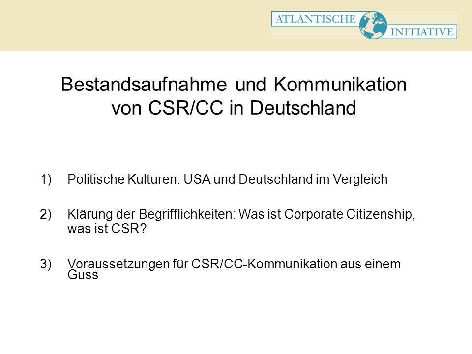 Bestandsaufnahme und Kommunikation von CSR/CC in Deutschland