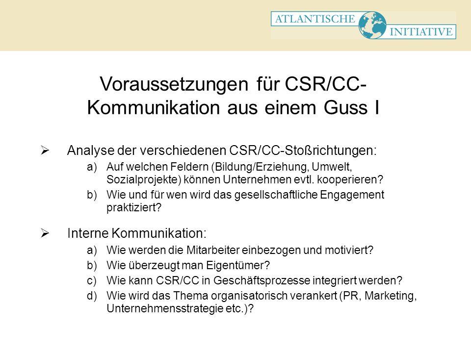 Voraussetzungen für CSR/CC-Kommunikation aus einem Guss I