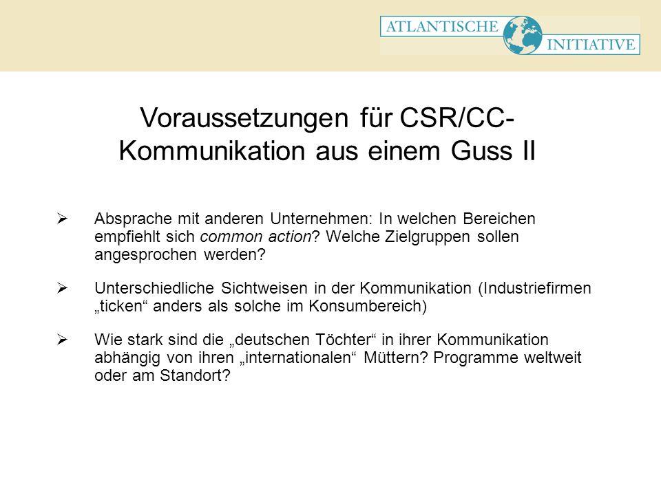 Voraussetzungen für CSR/CC-Kommunikation aus einem Guss II