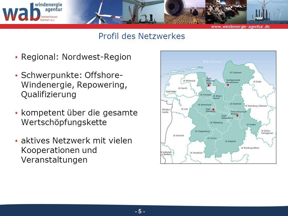 Profil des Netzwerkes Regional: Nordwest-Region. Schwerpunkte: Offshore-Windenergie, Repowering, Qualifizierung.