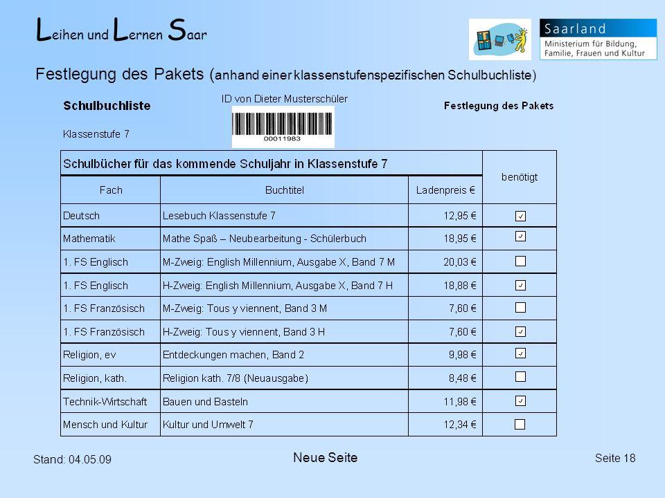 Festlegung des Pakets (anhand einer klassenstufenspezifischen Schulbuchliste)