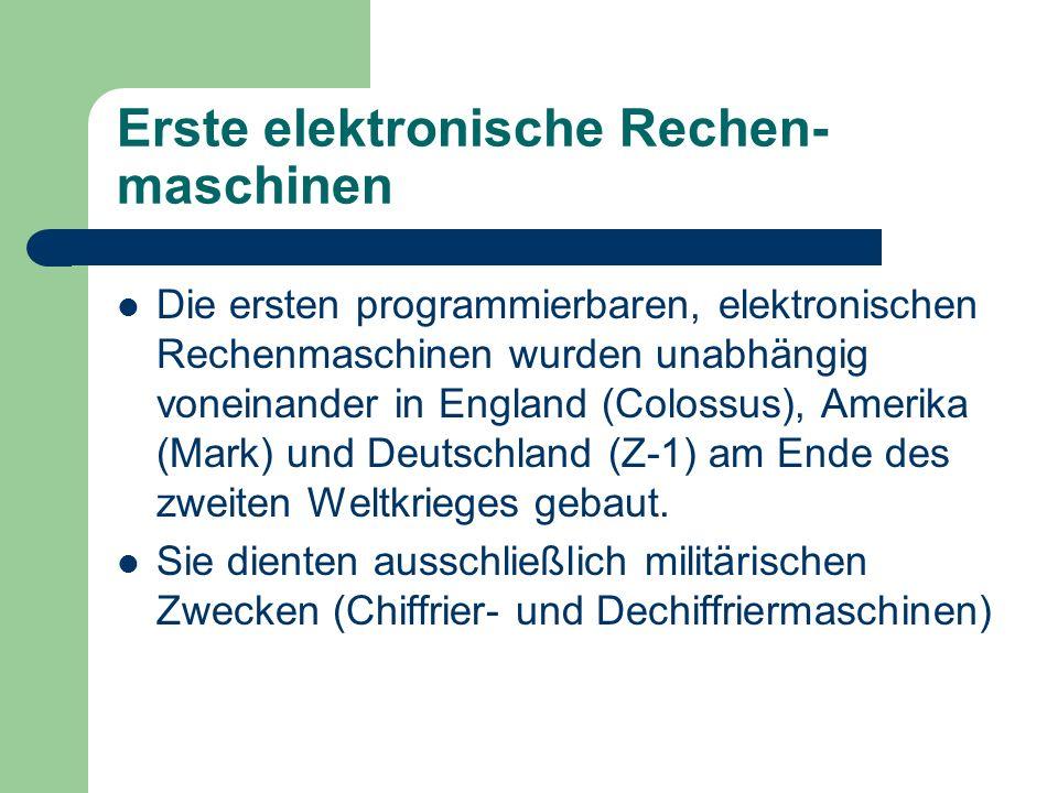 Erste elektronische Rechen-maschinen