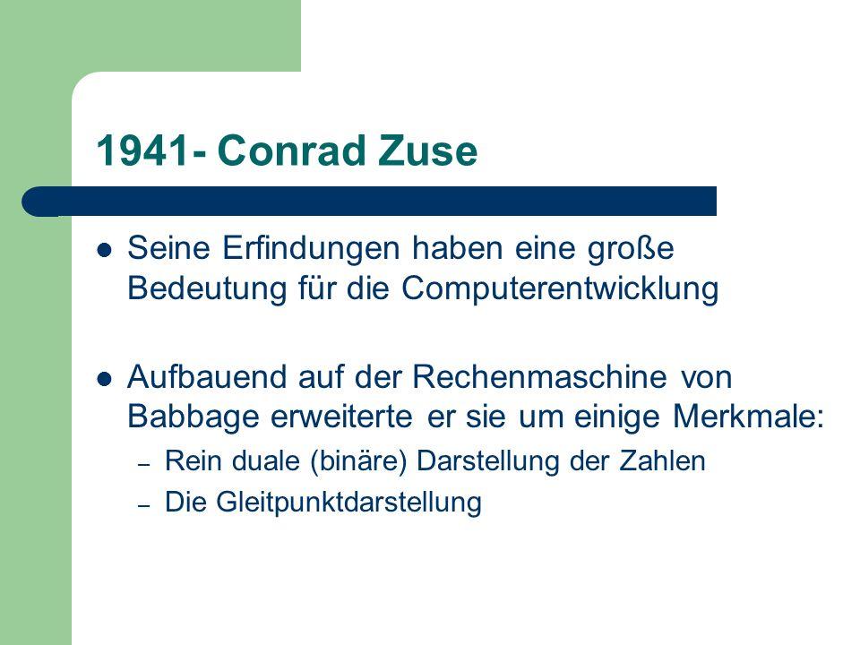 1941- Conrad ZuseSeine Erfindungen haben eine große Bedeutung für die Computerentwicklung.