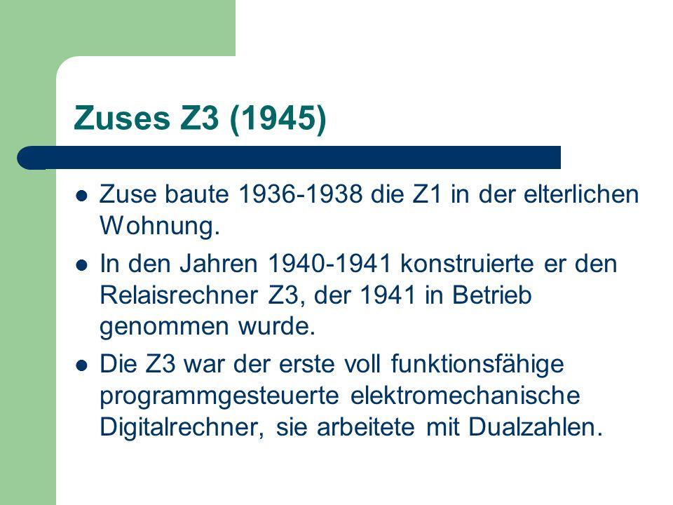 Zuses Z3 (1945)Zuse baute 1936-1938 die Z1 in der elterlichen Wohnung.