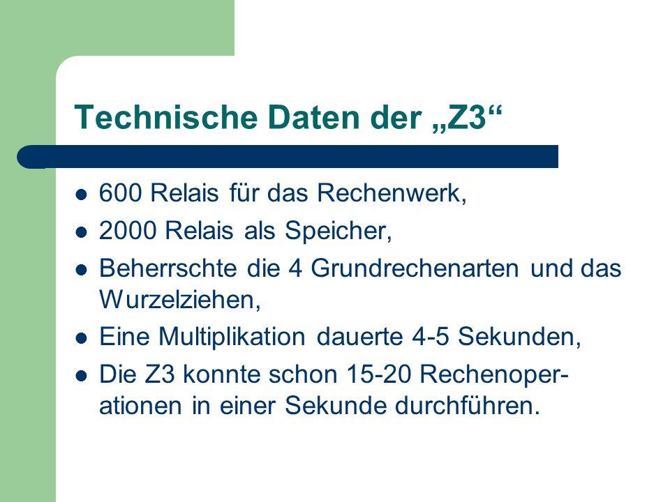 """Technische Daten der """"Z3"""