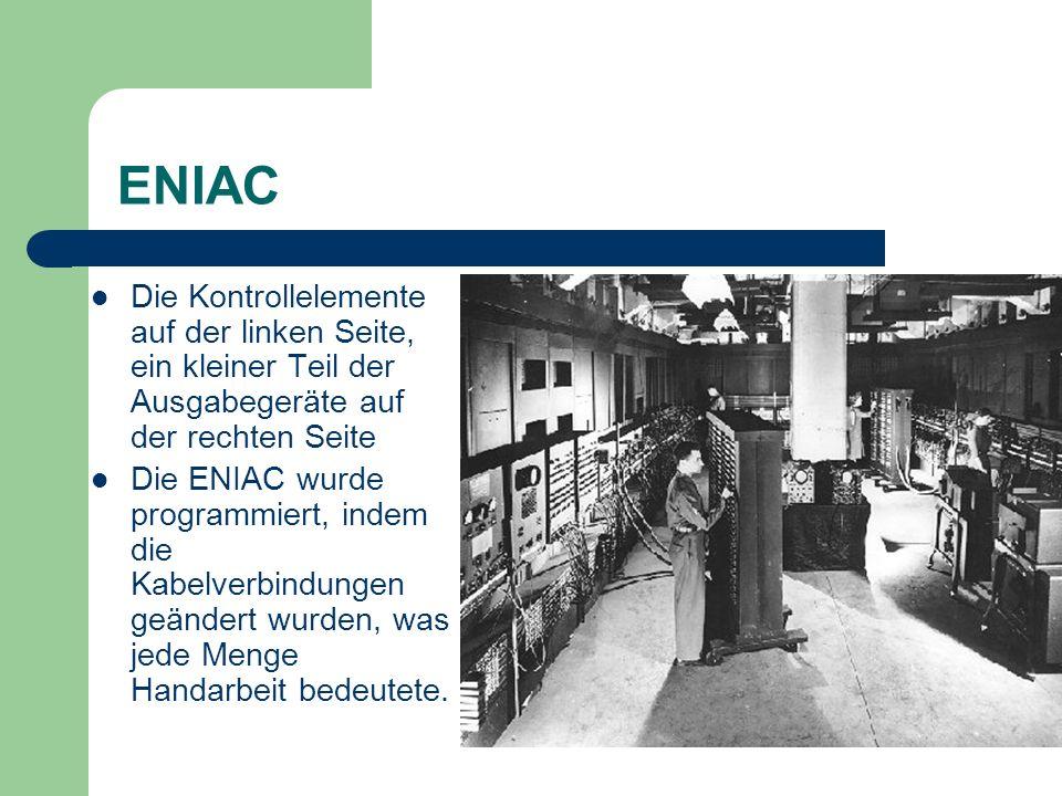 ENIACDie Kontrollelemente auf der linken Seite, ein kleiner Teil der Ausgabegeräte auf der rechten Seite.
