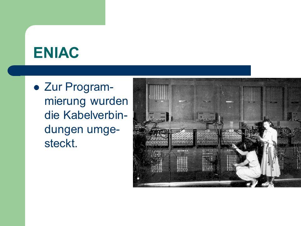 ENIAC Zur Program-mierung wurden die Kabelverbin-dungen umge-steckt.