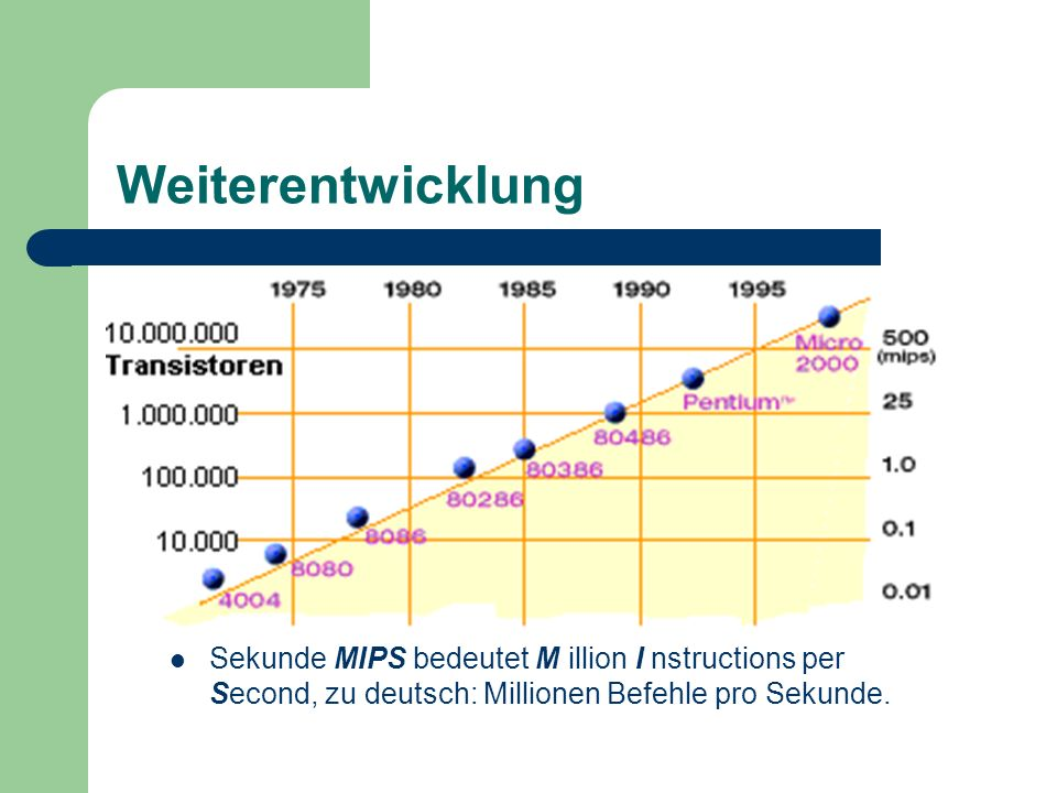 Weiterentwicklung Sekunde MIPS bedeutet M illion I nstructions per Second, zu deutsch: Millionen Befehle pro Sekunde.