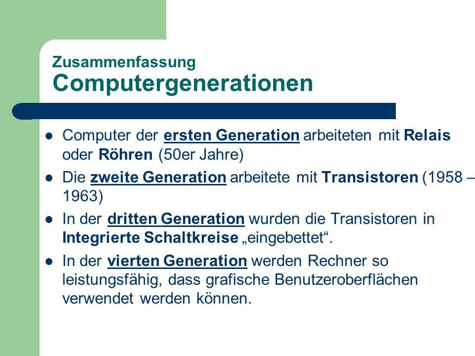 Zusammenfassung Computergenerationen