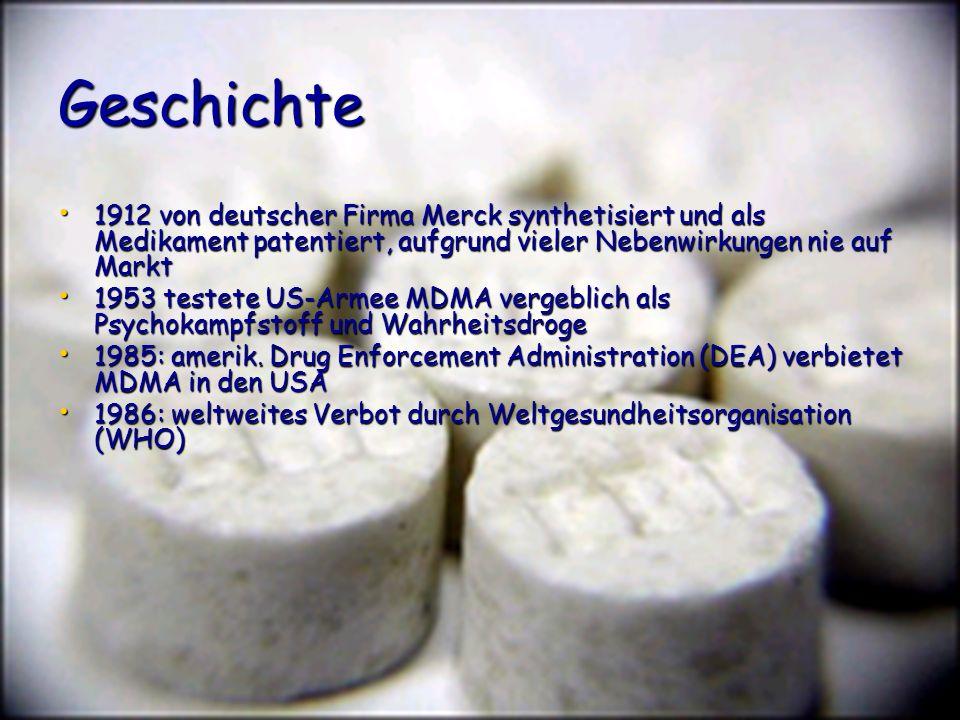 Geschichte 1912 von deutscher Firma Merck synthetisiert und als Medikament patentiert, aufgrund vieler Nebenwirkungen nie auf Markt.