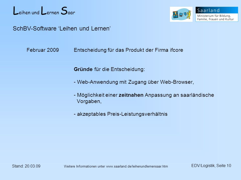 SchBV-Software 'Leihen und Lernen'