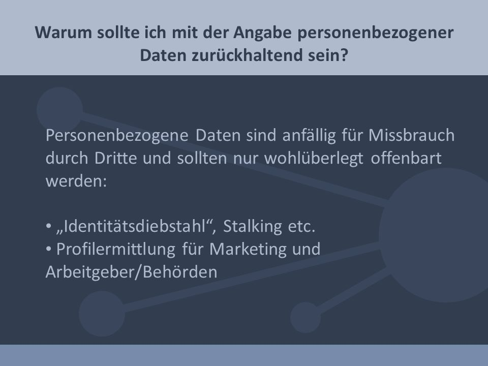 """Identitätsdiebstahl , Stalking etc."