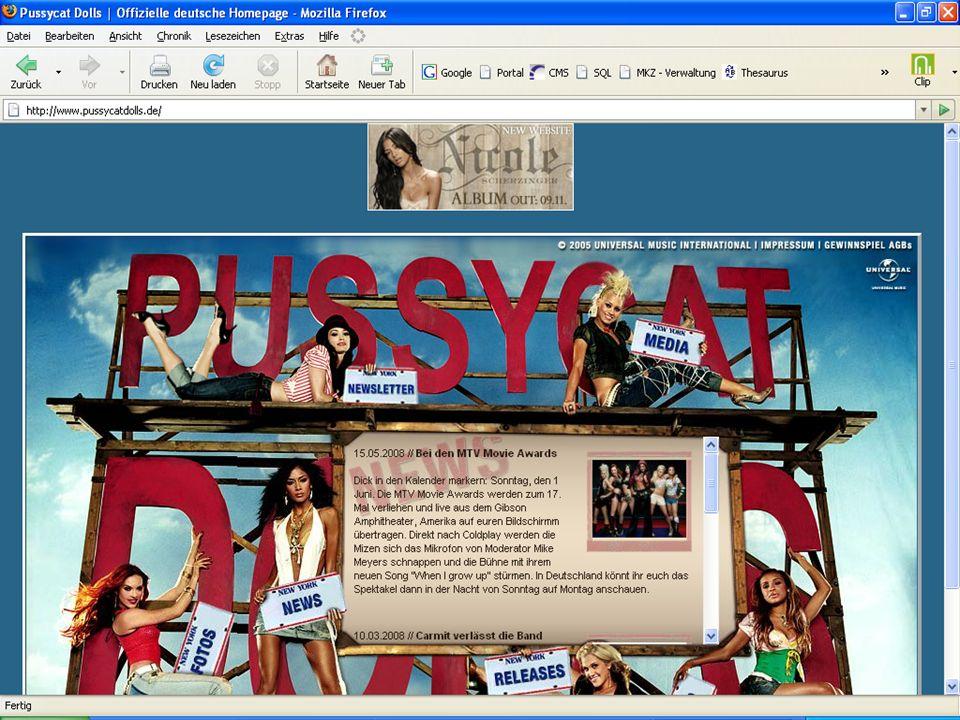 Beispiel für digitales Trittbrettfahren: Internetauftritt der Band Pussy Cat Dolls.