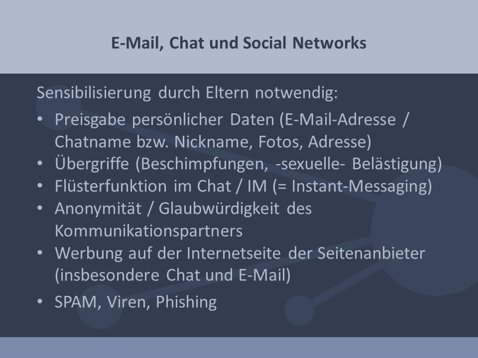 E-Mail, Chat und Social Networks