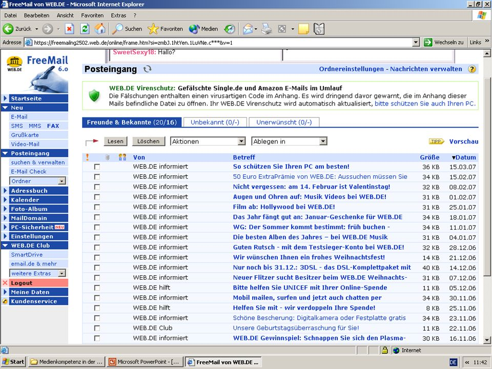 Beispiel für eines E-Mail-Postfachs eines kommerziellen E-Mail-Anbieters (Hinweis auf Werbemails)