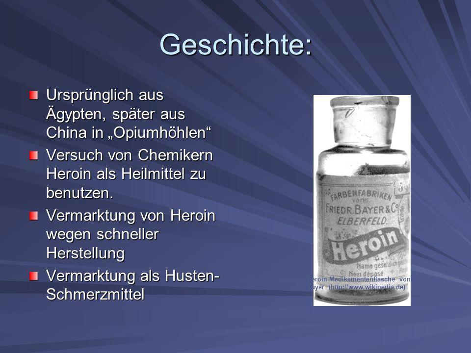 """Geschichte:Ursprünglich aus Ägypten, später aus China in """"Opiumhöhlen Versuch von Chemikern Heroin als Heilmittel zu benutzen."""