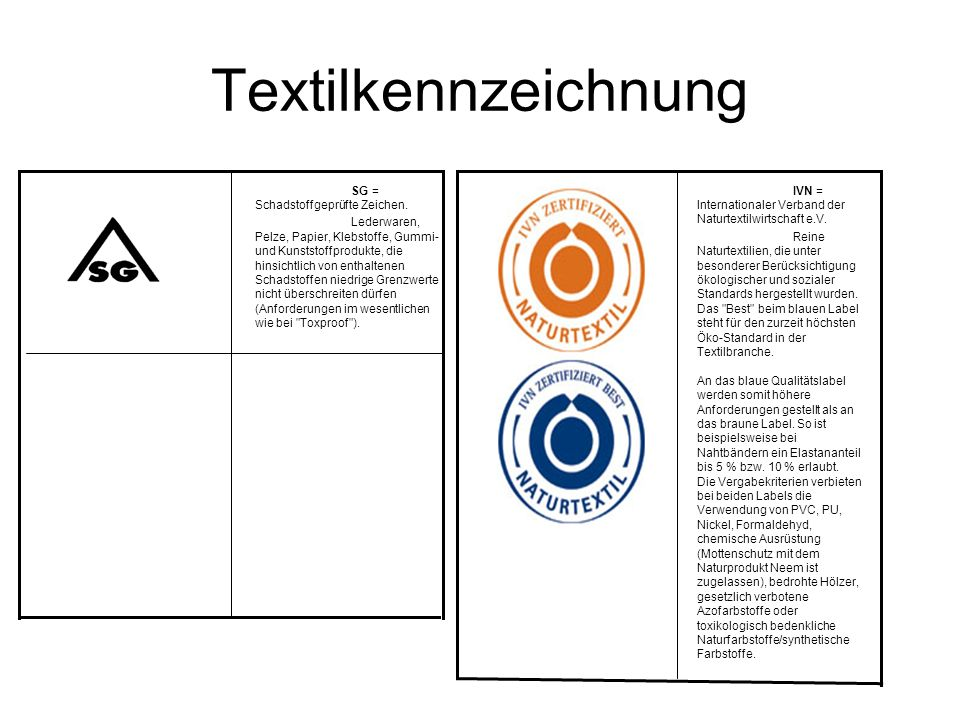 Textilkennzeichnung SG = Schadstoffgeprüfte Zeichen.
