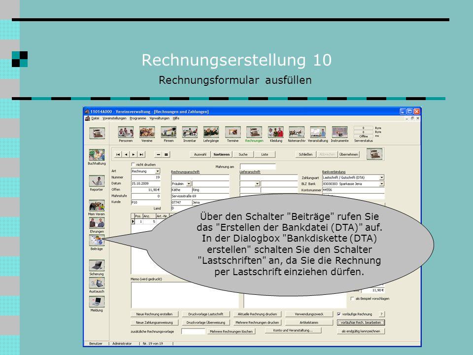 Rechnungserstellung 10 Rechnungsformular ausfüllen