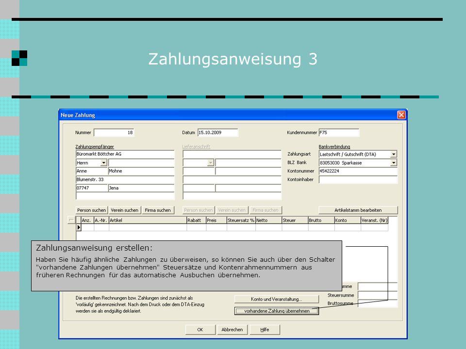 Zahlungsanweisung 3 Zahlungsanweisung erstellen:
