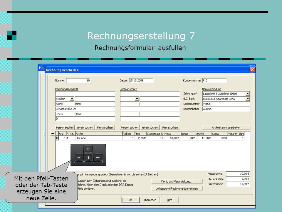 Rechnungserstellung 7 Rechnungsformular ausfüllen