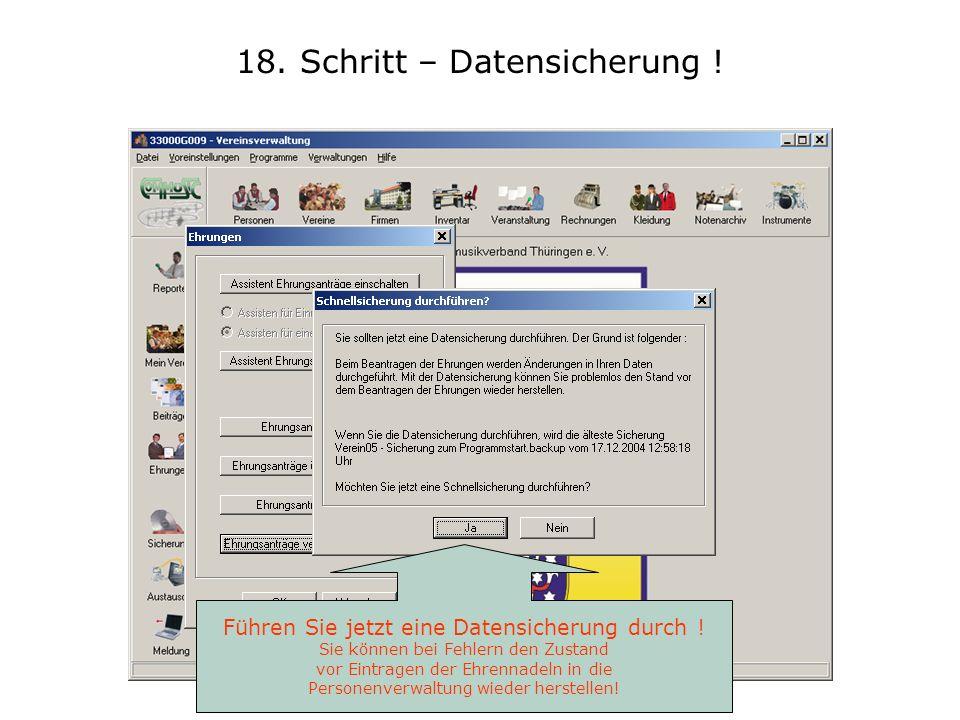 18. Schritt – Datensicherung !