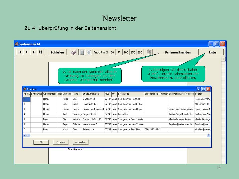 Newsletter Zu 4. Überprüfung in der Seitenansicht