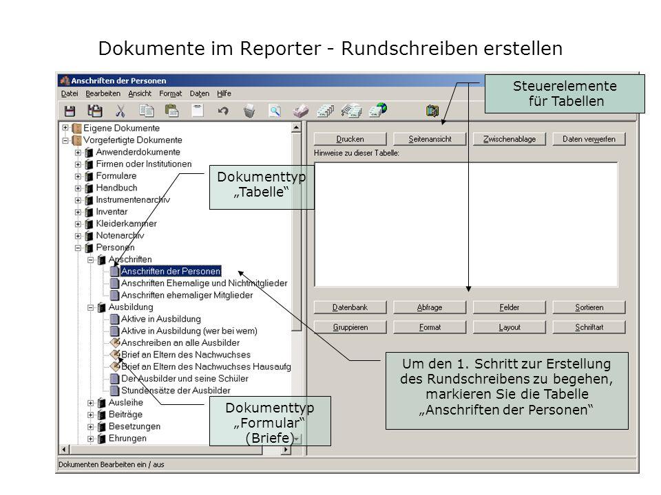 Dokumente im Reporter - Rundschreiben erstellen